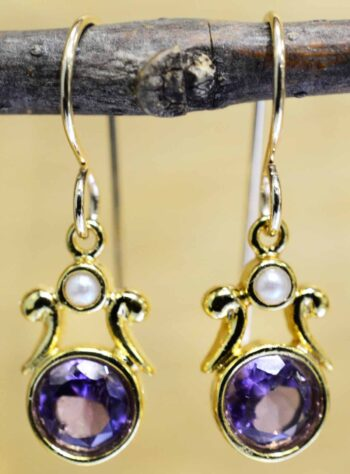 Handmade amethyst, pearl, and 14k gold vermeil earrings