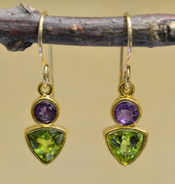 Handmade dangle earrings with green peridot and purple amethyst in 14k gold vermeil