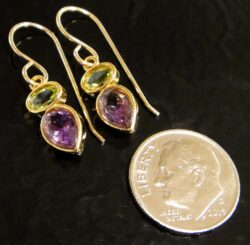 These amethyst and peridot gold vermeil earrings are handmade by Sonoma Art Works (shown here with dime for scale).