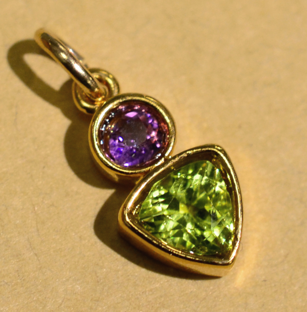 handmade Sierra Designs amethyst and peridot gemstone pendant