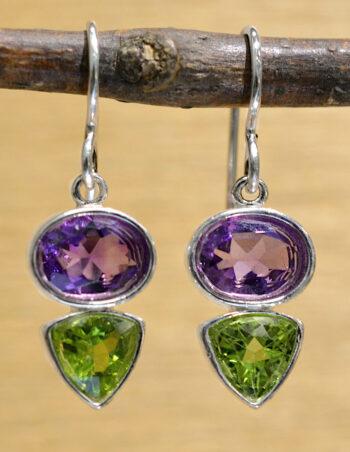 purple amethyst and green peridot dangle earrings set in .925 sterling silver by Sonoma Art Works