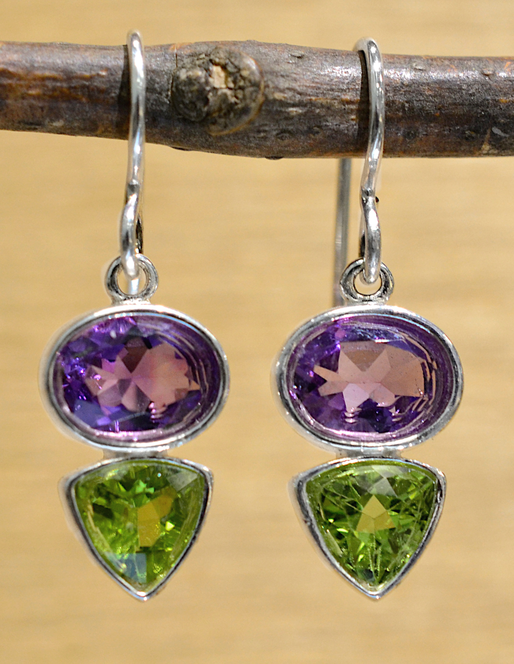 Purple Amethyst And Green Peridot