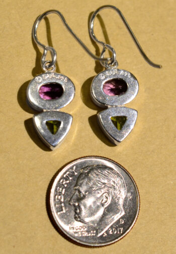 back of purple amethyst and green peridot dangle earrings set in .925 sterling silver by Sonoma Art Works with dime