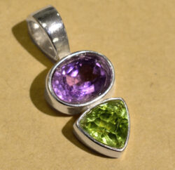 purple amethyst and green peridot handmade sterling silver pendant