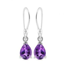 petite purple amethyst gemstone and sterling silver earrings
