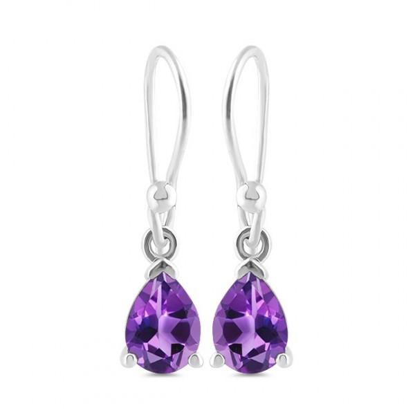 petite purple amethyst gemstone and sterling silver earrings