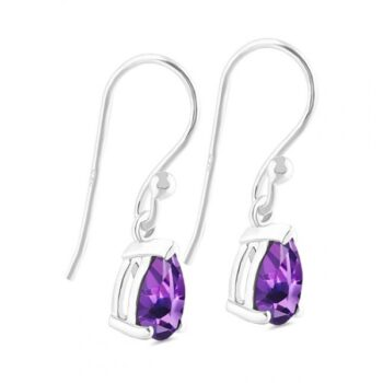amethyst gemstone drop earrings side view