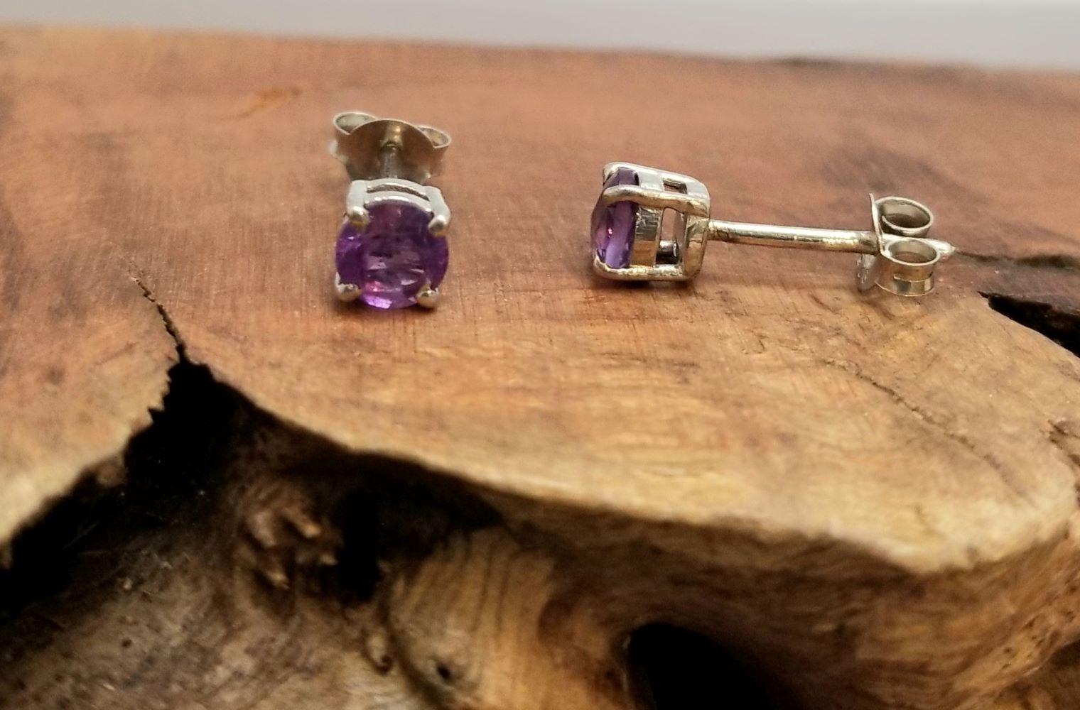 petite purple amethyst gemstone and sterling silver post earrings