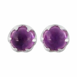 amethyst and sterling silver 4 mm petite post earrings