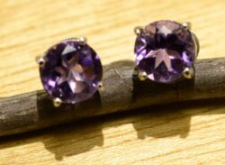 handmade amethyst and sterling silver stud earrings