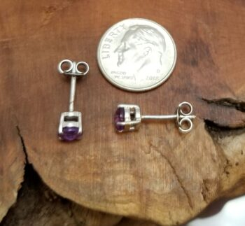 amethyst and sterling silver stud earrings with dime for scale