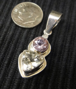 handmade light purple amethyst, clear quartz, and sterling silver drop pendant