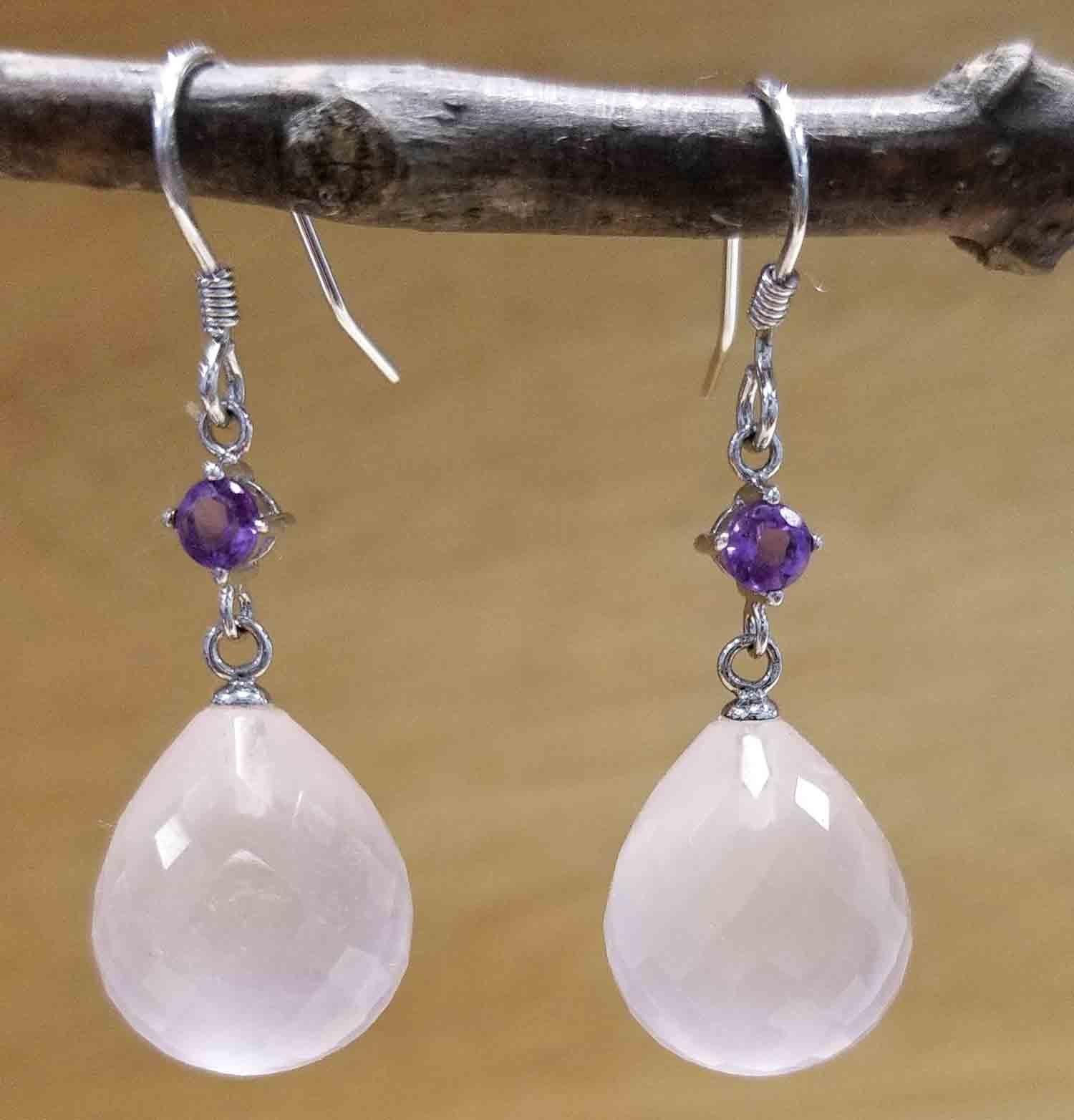 Amethyst and faceted rose quartz drop earrings