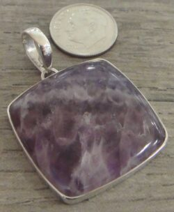 Handmade purple amethyst and sterling silver square pendant