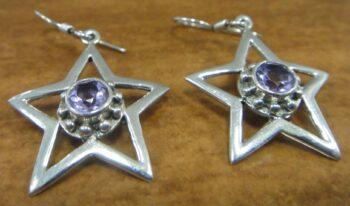 Purple amethyst and sterling silver star earrings