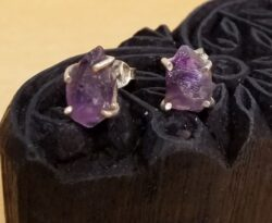 rough amethyst druzy crystal stud earrings