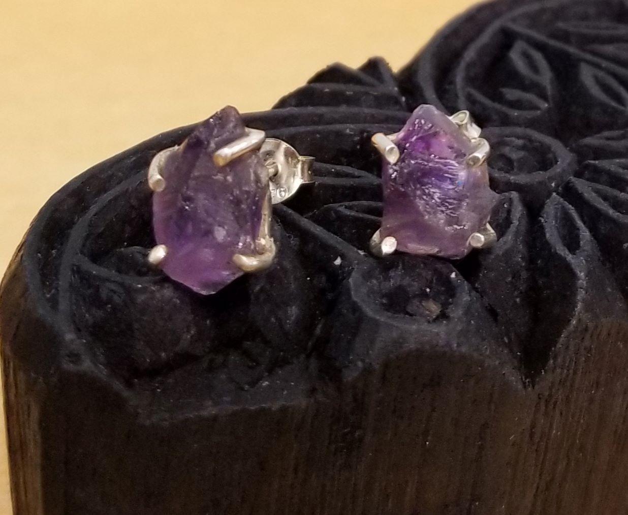 rough amethyst druzy crystal stud earrings