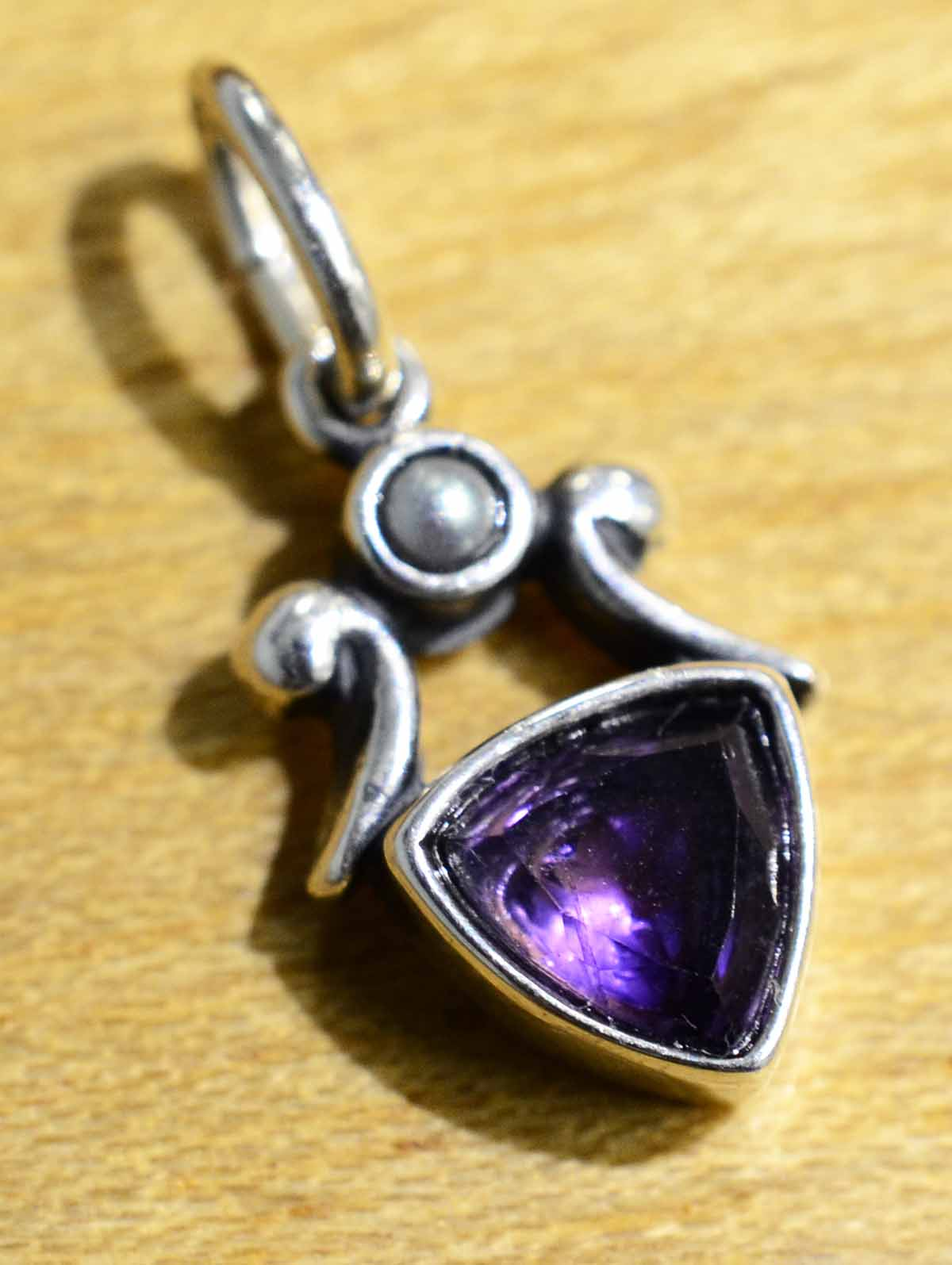Purple amethyst, pearl, sterling silver pendant