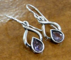 handmade Sierra amethyst twist design drop earrings