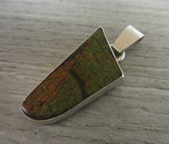 handmade ammolite and sterling silver pendant by Dale Repp