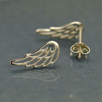 angel wing sterling silver post earrings