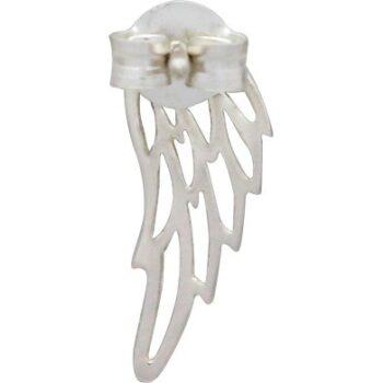 back of angel wing silver earrings