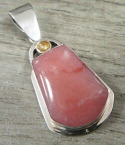 handmade pink opal, yellow citrine, and sterling silver pendant