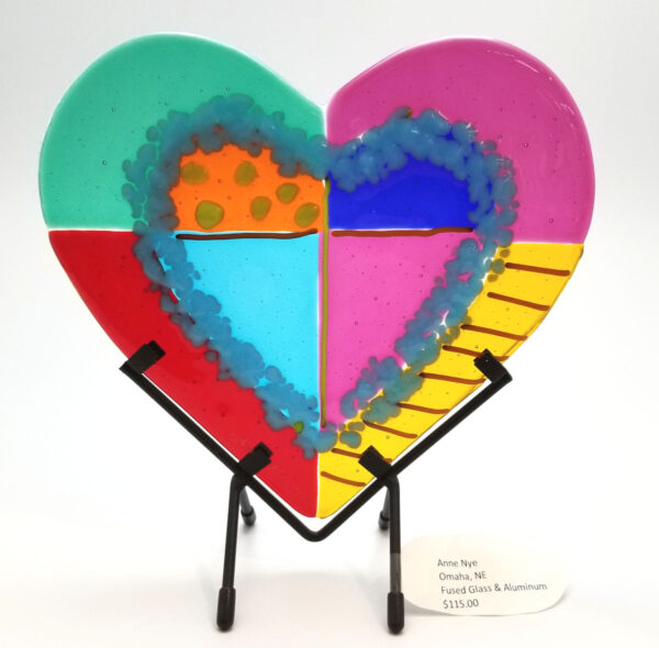 Fused glass art glass heart by Anne Nye