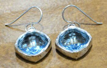 "Hailstone earrings in color ""Aqua Crystal"" by Patricia Locke"