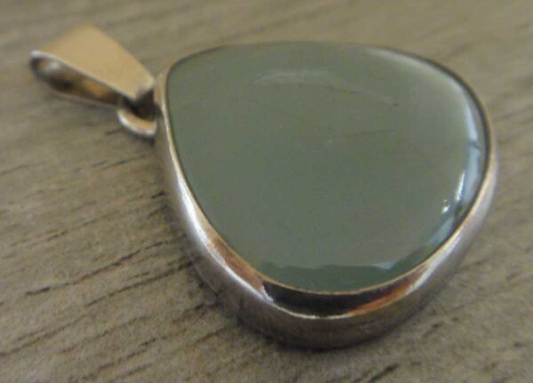 Aquamarine and sterling silver pendant handmade by Dale Repp in Lone Tree, Iowa