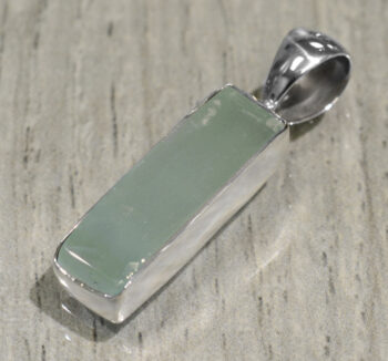 handmade aquamarine and sterling silver rectangle pendant
