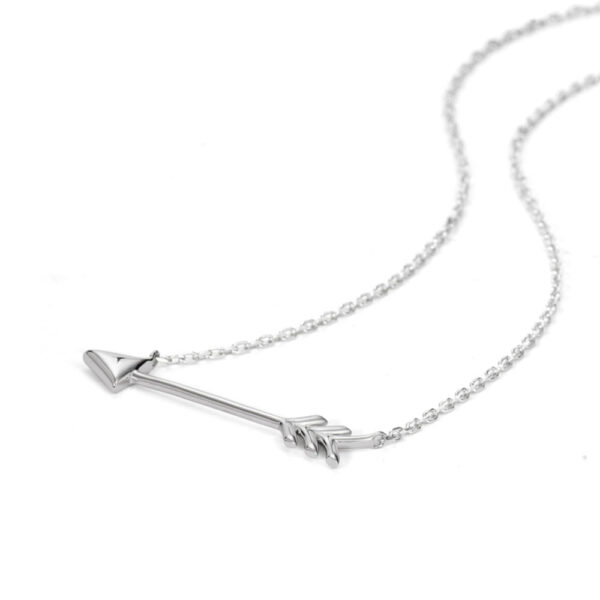 sterling silver arrow necklace laying flat