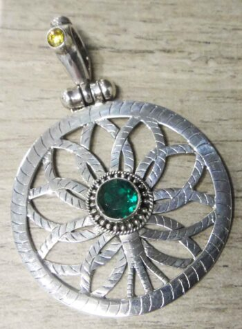 handmade green and yellow art glass flower pendant
