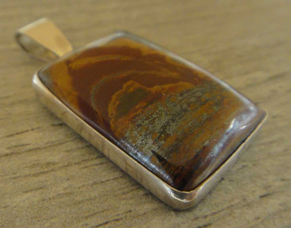 handmade Autumn Leaf jasper and sterling silver square pendant by Dale Repp
