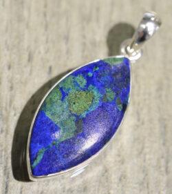 blue and green azurite malachite marquise shaped pendant