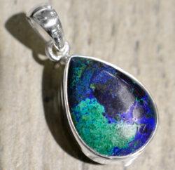 azurite malachite and sterling silver drop pendant