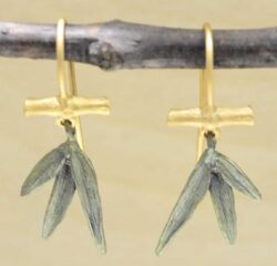 These bamboo leaf earrings are handmade by Michael Michaud as part of his Silver Seasons collection.