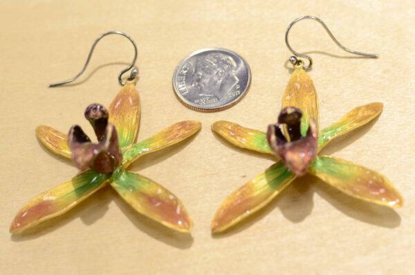 Michael Michaud Silver Seasons Banana Split Orchid earrings with dime