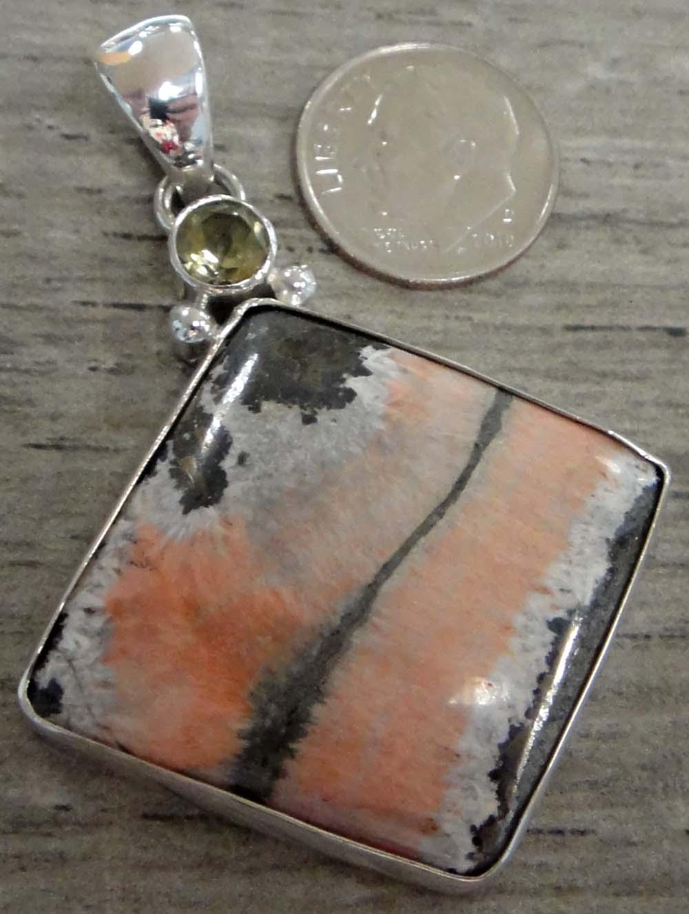 Barite, citrine, sterling silver pendant