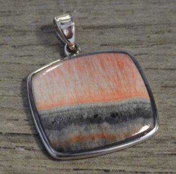 Pink and gray barite and sterling silver pendant