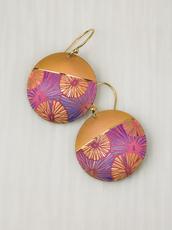 Orange and purple circle flower earrings by Holly Yashi Jewelry