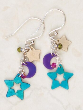 Colorful Niobium and silver moon and star earrings