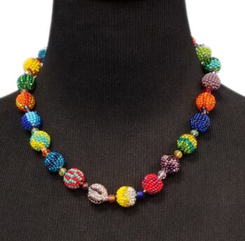 multicolor beaded necklace on mannequin