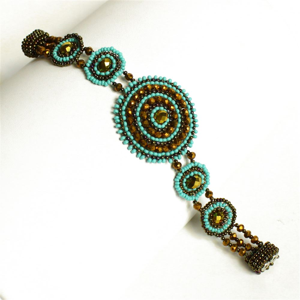 Blue and bronze color woven seed bead bracelet with magnet clasp