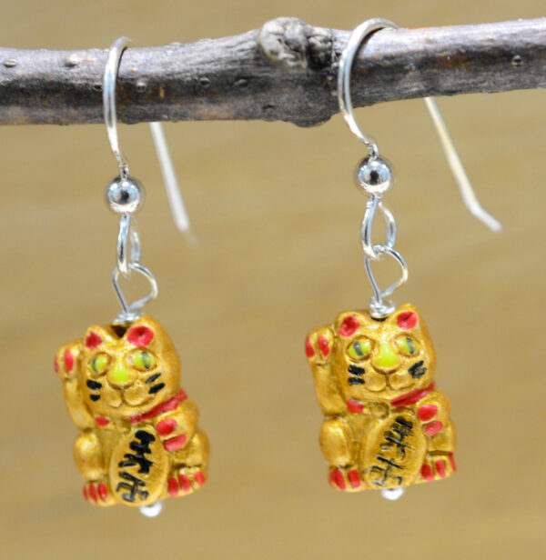 Lucky cat ceramic and sterling silver earrings