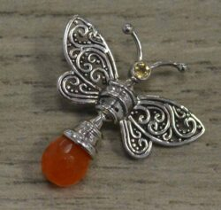 handmade citrine, carnelian agate, and sterling silver butterfly pendant