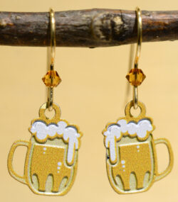 handmade beer mug earrings