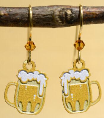 handmade beer mug earrings