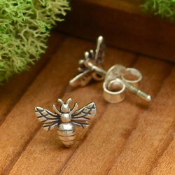 tiny bee sterling silver post earrings