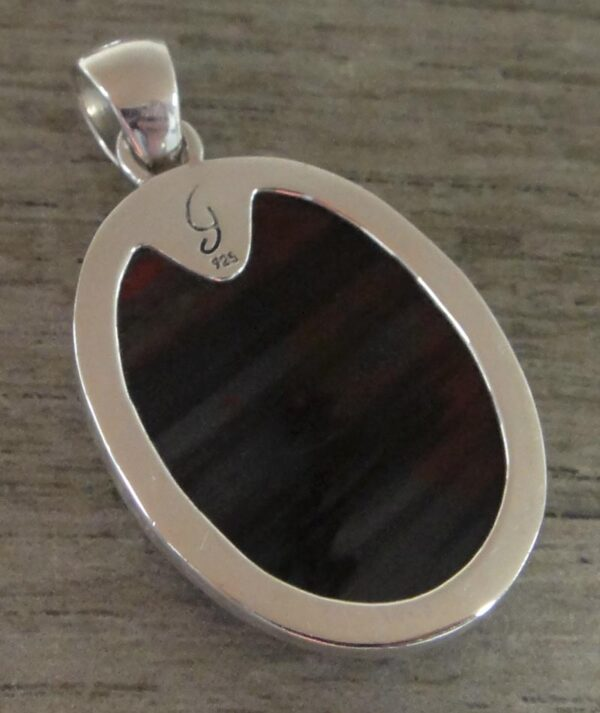 Petrified conifer tree wood and sterling silver pendant back view